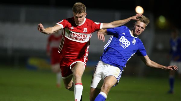 George Miller in action against Birmingham in a U23 Premier League Cup tie at Bishop Auckland