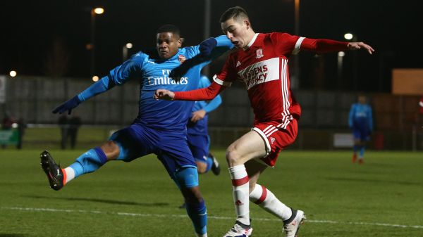Middlesbrough FC's Stephen Walker in action against Arsenal in the FA Youth Cup