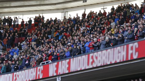 Boro fans watch match against Nottingham Forest