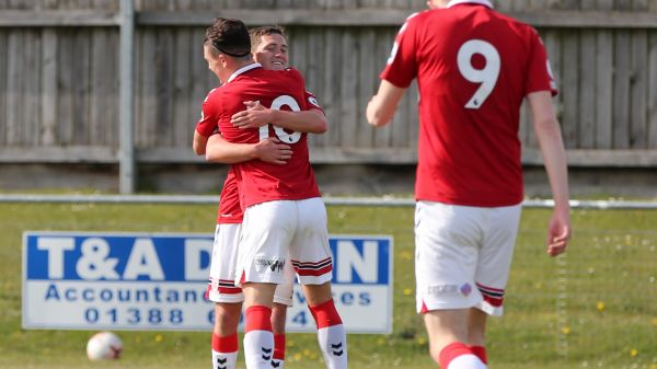 Goalscorers Joe Gibson and Calum Kavanagh celebrate