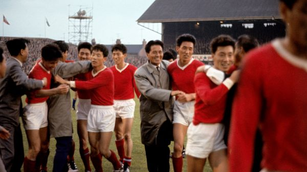 North Korea celebrate their shock 1966 World Cup victory over Italy at Ayresome Park