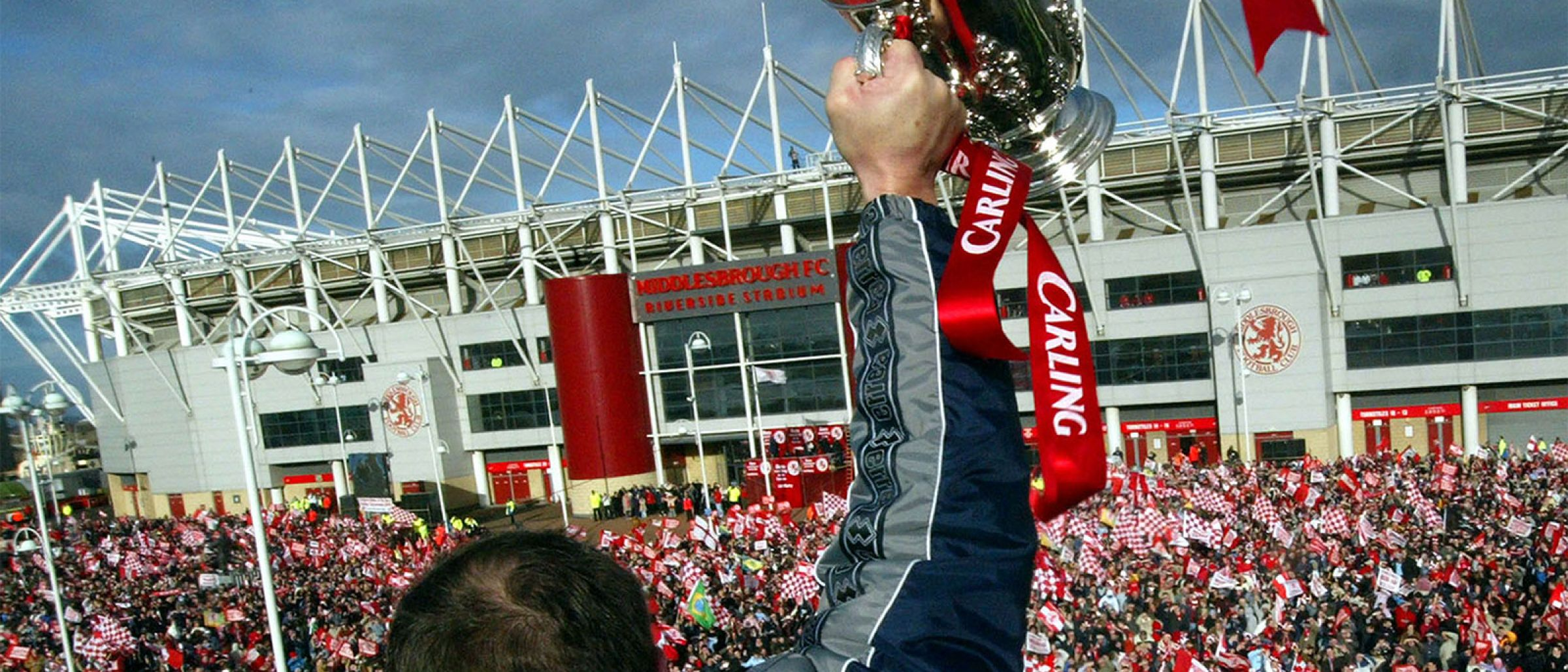 Thousands of fans watch Boro lift the Carling Cup in front of the Riverside Stadium