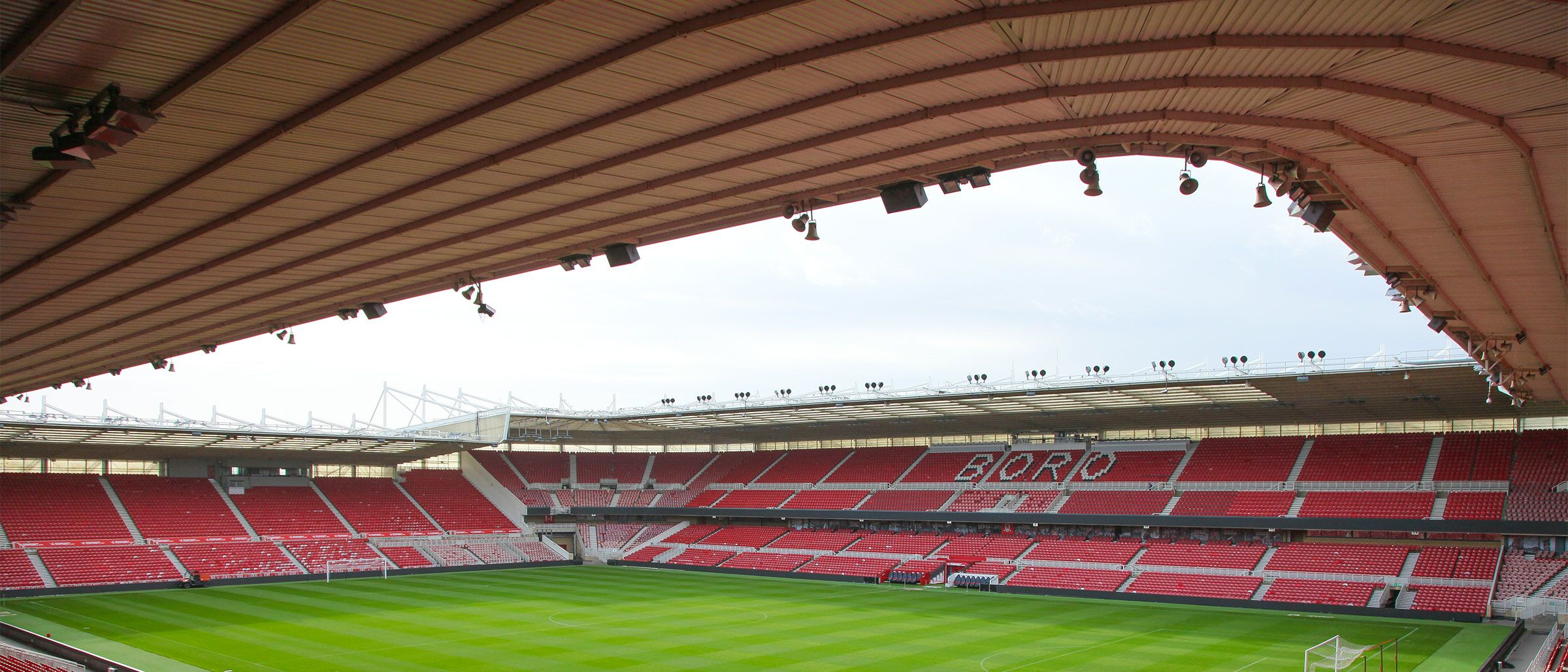The inside of the Riverside Stadium from the North East corner