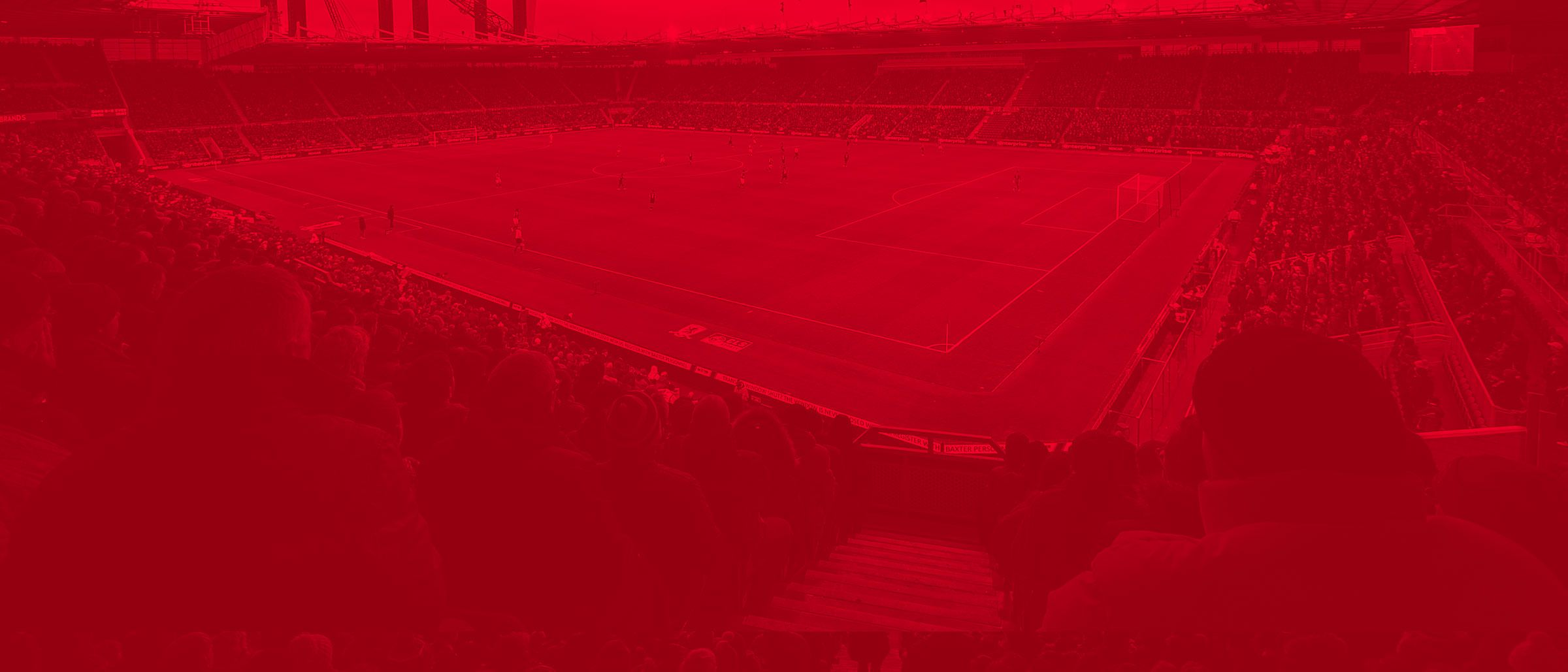 monotone red image of the Riverside Stadium