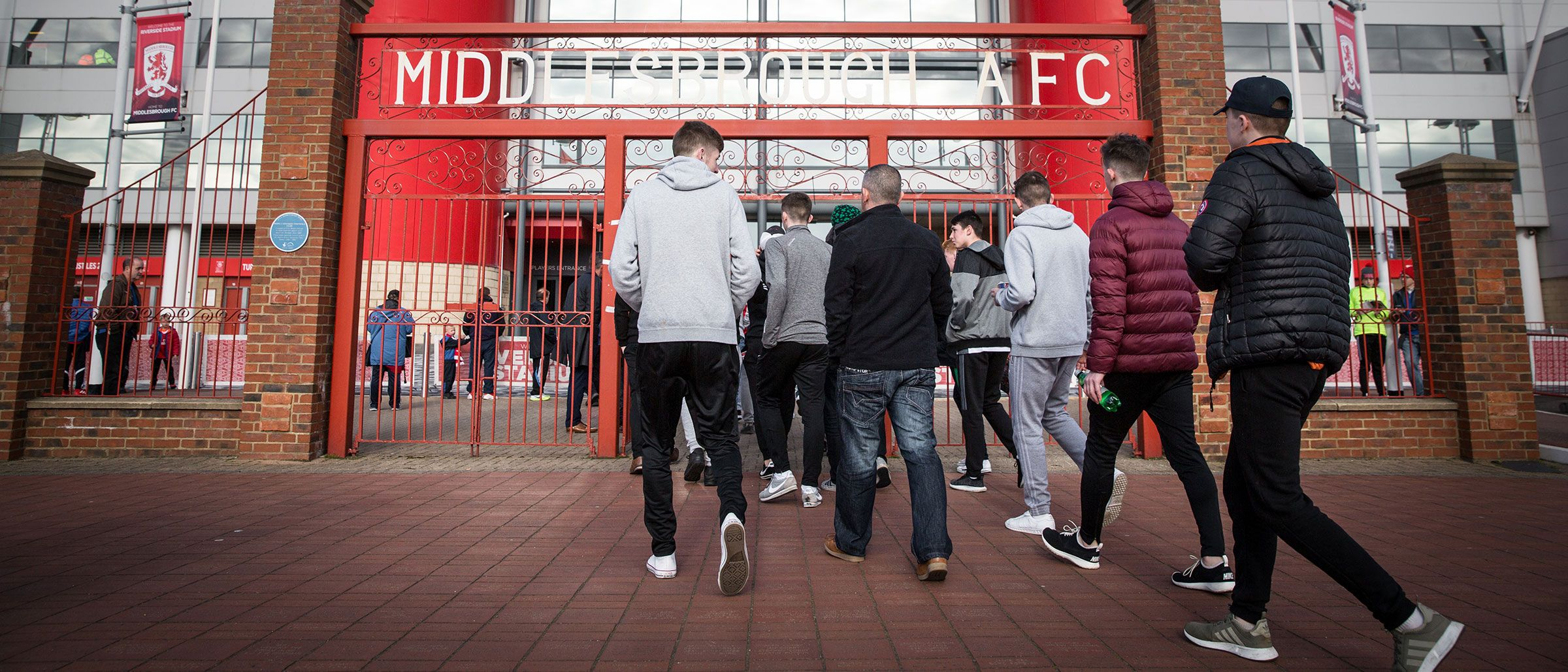 Fans approaching the Ayresome Gates on a matchday