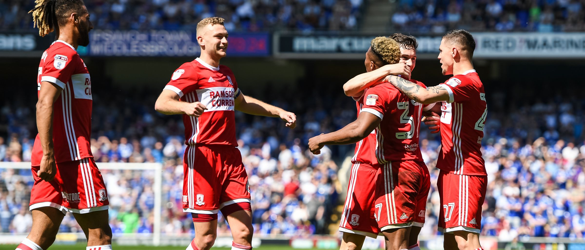 Boro team celebrate Stewart Downing's goal at Ipswich