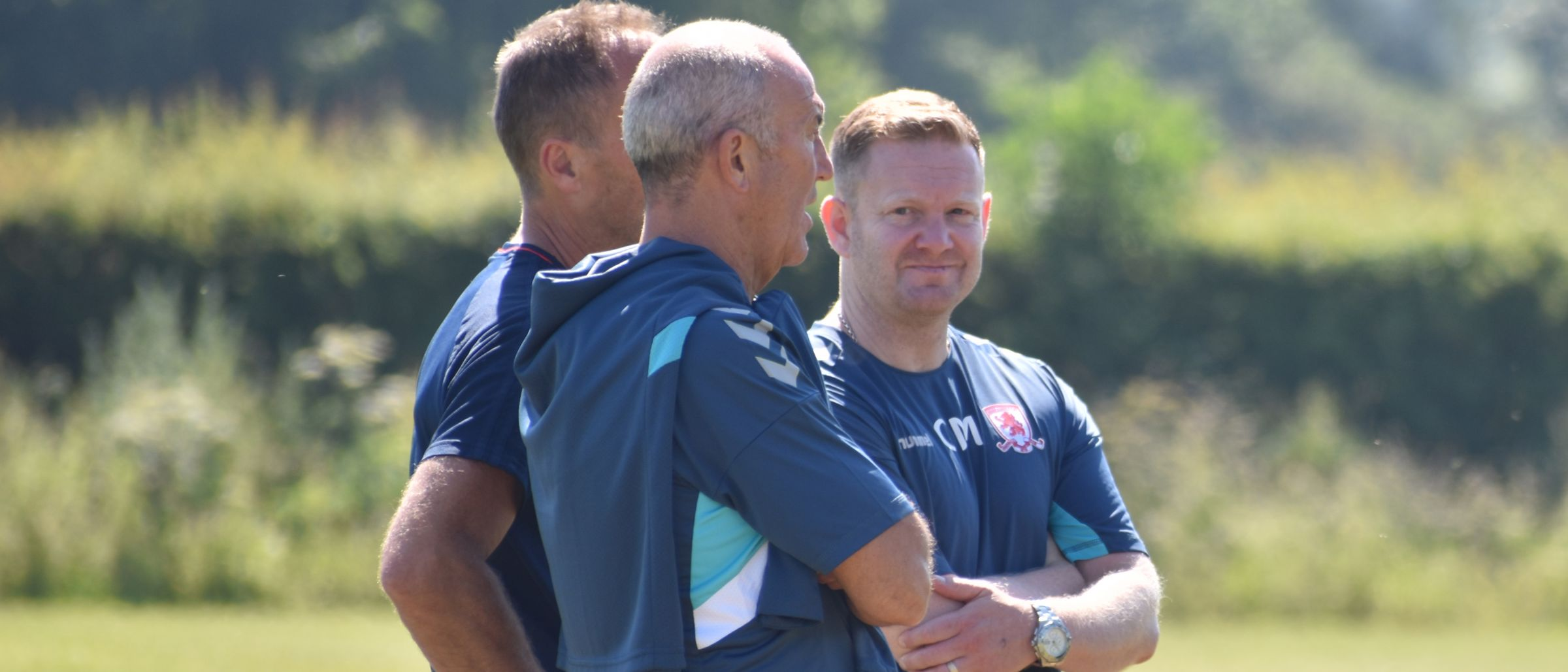 Head Physiotherapist Chris Moseley (right) with Tony Pulis (centre) and Club Doctor Bryan English