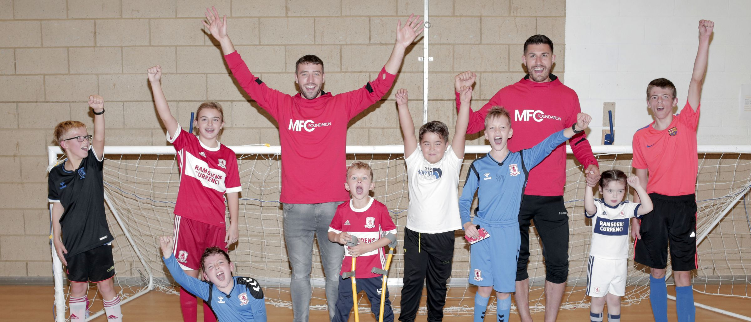 Middlesbrough FC's Sam McQueen, left, and Danny Batth, enjoying a visit to the Acorn Centre in Middlesbrough organised by MFC Foundation