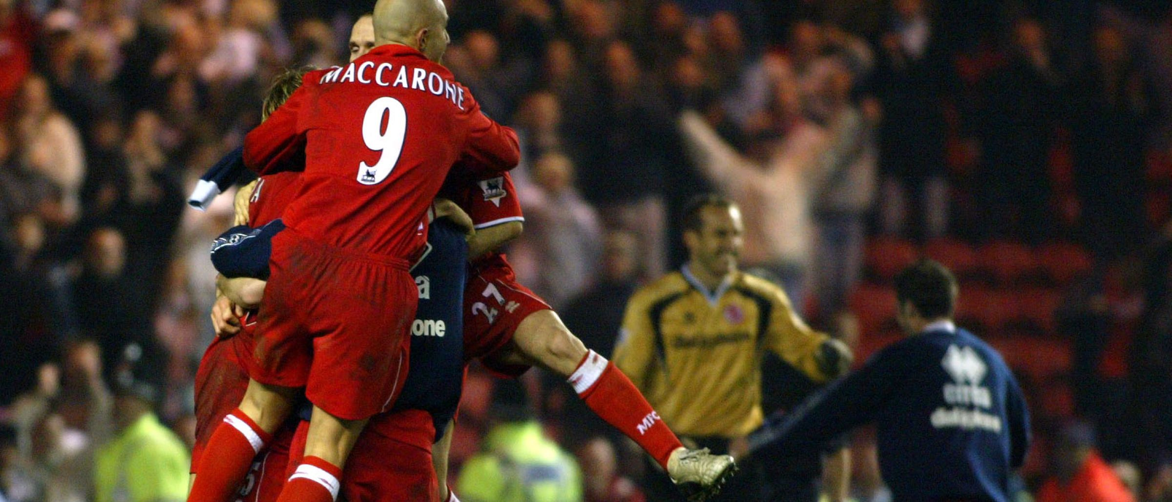 Boro players celebrate against Everton 2003 Carling Cup