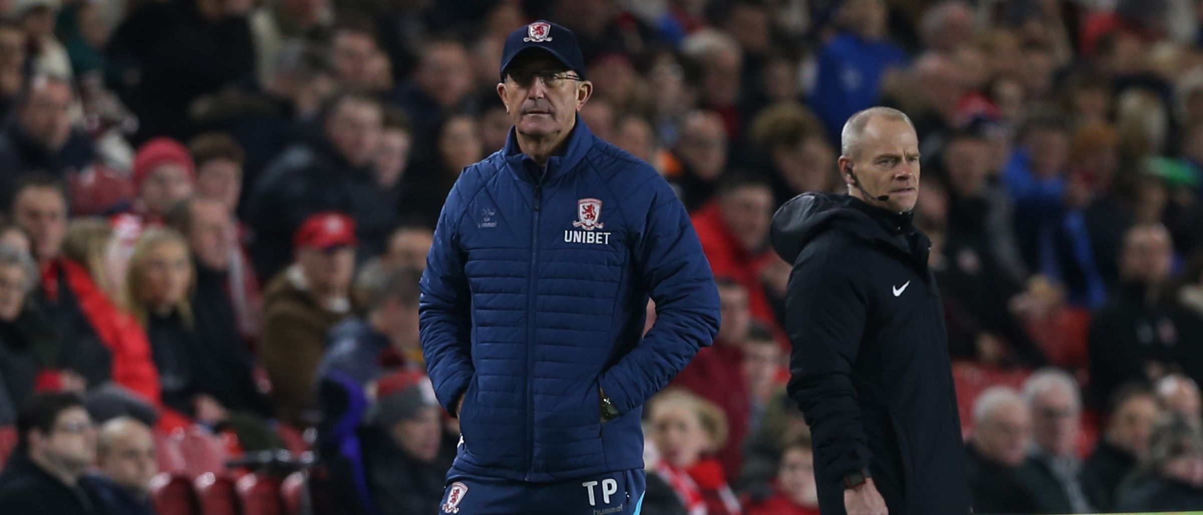 Rarely seen outside the touchline, Tony Pulis is on his feet once again