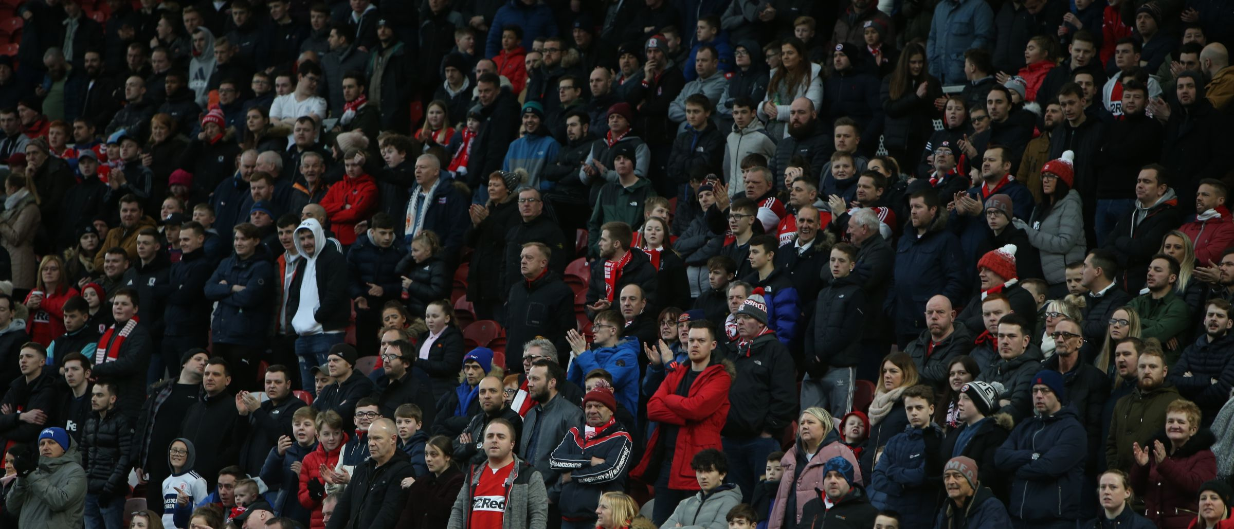Boro fans take their seats for this FA Cup 4th round tie against Newport County