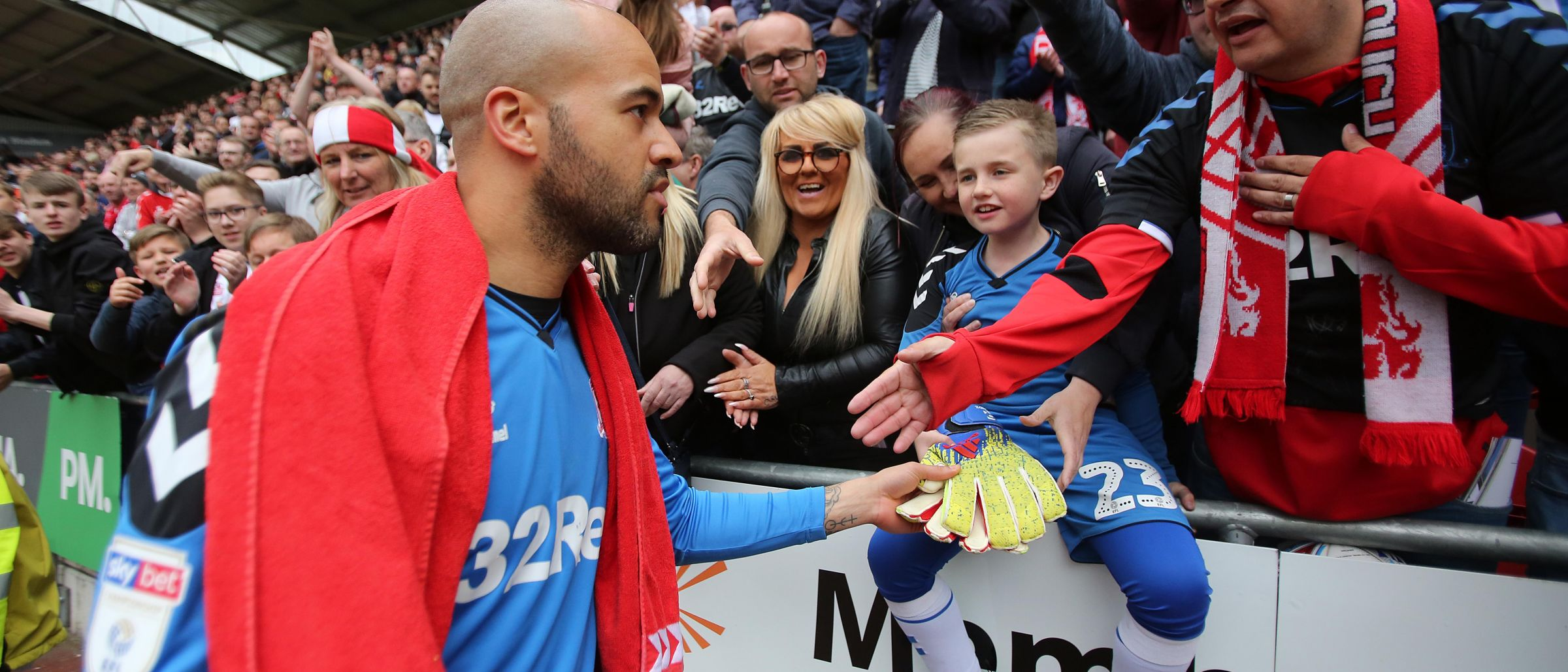 Middlesbrough FC goalkeeper Darren Randolph with Boro fans at Rotherham
