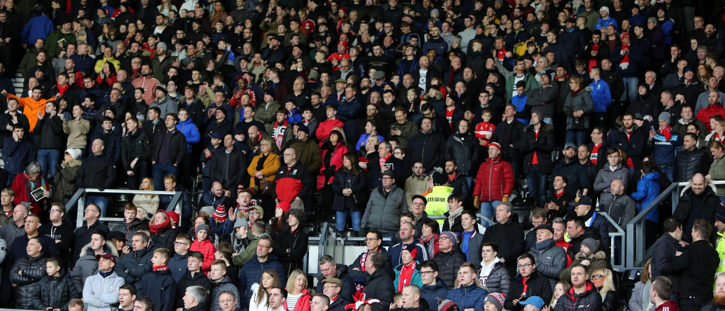 Boro fans at Derby