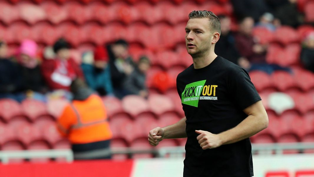 Middlesbrough FC's Ben Gibson shows support for Kick It Out