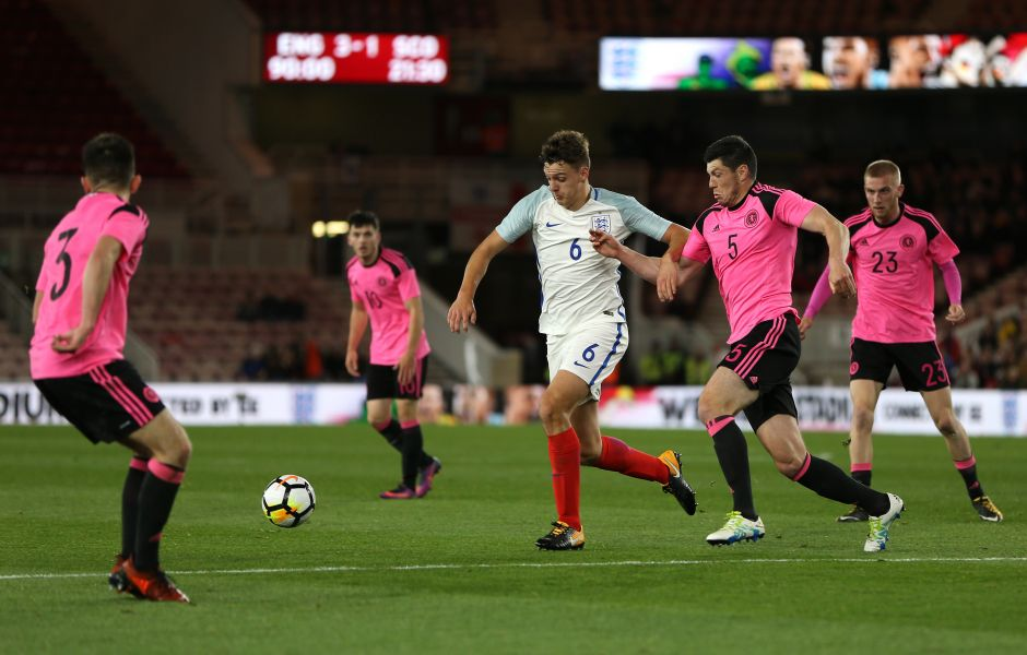 Dael Fry in action for England U21s during a 3-1 over Scotland at the Riverside