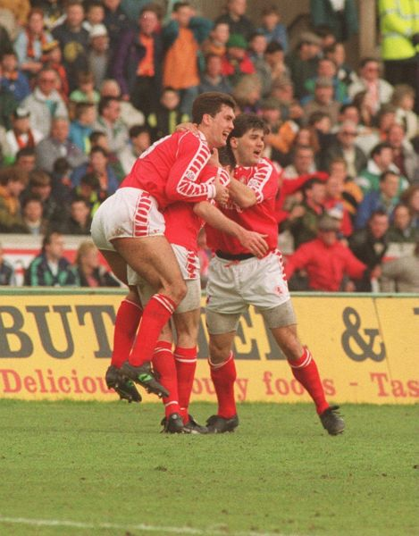 Boro's Paul Wilkinson celebrates scoring the winning goal against Wolves to secure promotion in 1992