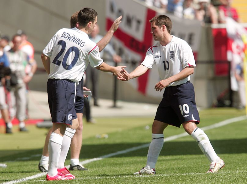Boro's Stewart Downing comes on for Michael Owen for England against Paraguay at the 2006 World Cup