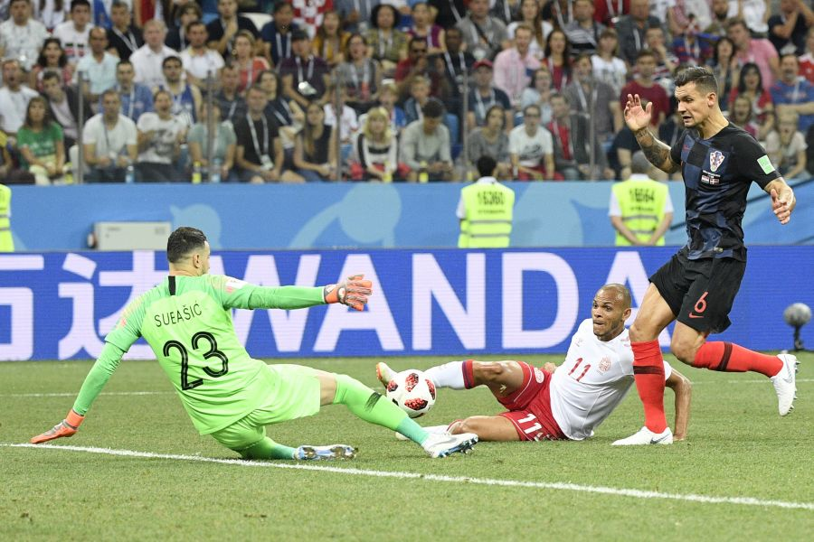 Martin Braithwaite goes for goal against Croatia for Denmark in the last 16 tie in the World Cup