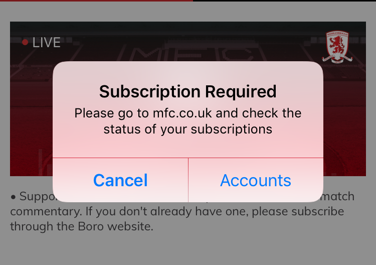 Subscription required pop up window