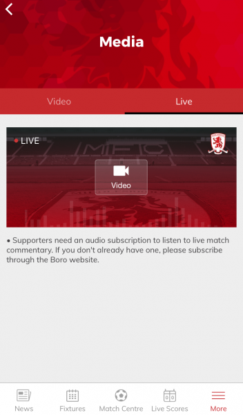 Live tab with Media section of the MFC app