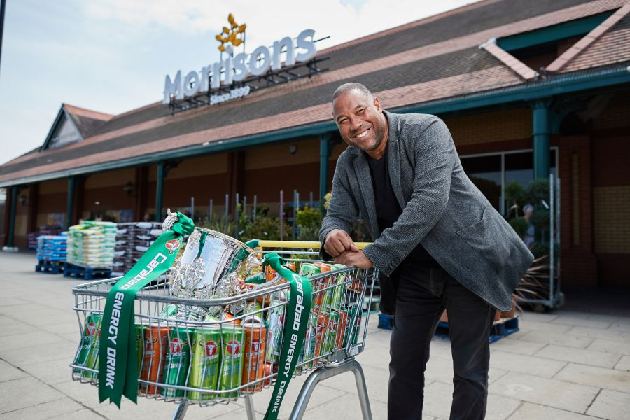 John Barnes with the Carabao Cup trophy