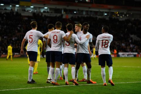 Dael Fry celebrates a goal against Ukraine with England Under-21 teammates