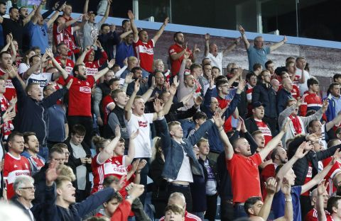 Boro fans watch second leg of Play-Off semi-final against Aston Villa